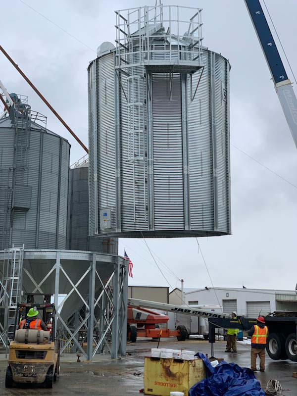 Hopper Bottom Bin Storage Installation for Wheat.